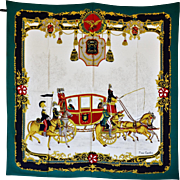 REDUCED Vintage Pierre Cardin Silk Scarf of Dignitaries in a Red Coach with Military Escort