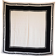 REDUCED Blush Pink & Black Silk Scarf with Traditional Square 'Picture Frame' Layout