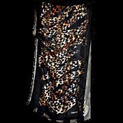"SOLD Vintage Carlisle Collection Thin ""Leopard"" Print & Black Stripes Neck Scarf"