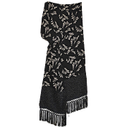 REDUCED Vintage, Rare & Extra-Long Black & White Patterned Silk Neck Scarf with Fanciful Fring