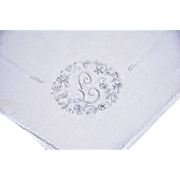 SOLD Exceptional Vintage Linen Hankie, Floral Embroidery Finely Stitched