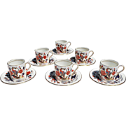 REDUCED Vintage Aynsley 'Bird of Paradise' Demitasse Service for Six