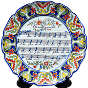 "REDUCED Antique French Faience Music or 'Opera Plate' Marked ""Rouen 1702"""