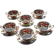 REDUCED Vintage Aynsley 'Bird of Paradise' Cream Soup Service for Six