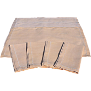 REDUCED Vintage Hem-Stitched Buff Table Linen Set – 4 Napkins, 3 Placemats