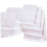 REDUCED Vintage Set of Six Bright White Textured Cotton, Hem-Stitched Guest/Hand Towels