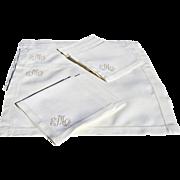 Vintage Ecru Linen Hem-Stitched Placemat & Napkin Set for 8 with Handsome Monogram