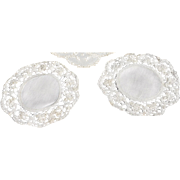 REDUCED Two Vintage Round, Ecru Finger Bowl Doilies with Linen Ground & Lace Edges