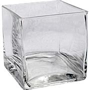 """REDUCED Vintage Yet Modern 4"""" Square Glass Weighted Vase"""