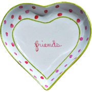 "REDUCED Small Vintage Heart-Shaped Polka Dot ""friends"" Tray"