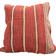 "REDUCED Softly Textured 24"" Square Pillow, Barn Red Fabric with Gold, Green & White Stripes"