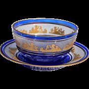 REDUCED 4 Antique Cobalt Crystal Finger Bowls & 5 Under Plates 'Beaudoin' from Val St ...