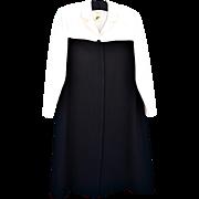 Vintage Jones New York Cream & Black Coat Dress, Long Sleeves, Size 14