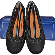 REDUCED Women's Black Suede Dory Ballet Flat with Waterproof Soles from Lands' End