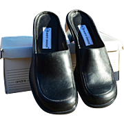 REDUCED Women's Black Leather Slip-On Mule by Andre Assous
