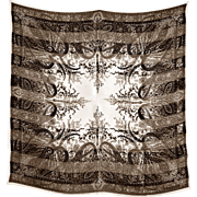 Handsome Paisley Silk Scarf in Black & Multiple Shades of Brown