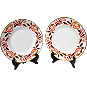REDUCED Pair Royal Chelsea-Wedgwood Gold, Blue & Red Small Plates