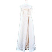 Vintage Designer Ivory Silk Empire Ball Gown with Cascading Satin Bows