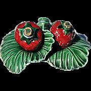 Vintage Ceramic Salt & Pepper Set as Strawberries Nesting on Green Leaves Base