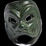 Vintage Miniature Venetian Laughing Face Mask of Green Metal