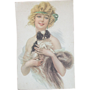 SOLD French Vintage 1920's Card Print of Young Woman with King Charles Cavalier Dog