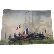 SOLD French Vintage Watercolour Naval Battle/Funeral Scene
