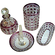 SALE Art Glass by Baccarat France - Simply superb 5-pc AMETHYST Vanity Set - Diamant Pierrerie