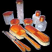 SALE OK2 - Sublime German Art Deco Burnt Orange COPPER Guilloche Enamel 10-pc Vanity Set