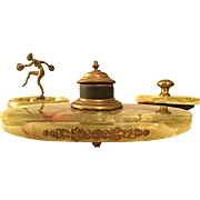 SALE Exquisite Antique Art Nouveau Onyx & Bronze Desk Set with Inkwell and Cymbal Dancer Tray