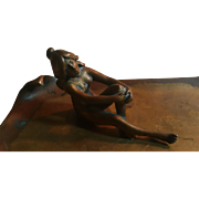 SALE F. BERMANN, Austria - Listed Circa 1900s Cold Painted Gilt Bronze Seated Nude Maiden