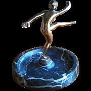 SALE OK1 - LORENZL - Signed Bronze Dancer - 1915 Antique Art Deco Figural Trinket Tray