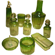 REDUCED Elegant BACCARAT / MOSER 14pc GREEN Crystal Boudoir Set - Almost mint collectibles