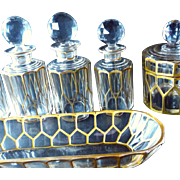 SALE OK1 - Gilt Hand Sculpted BACCARAT Faceted Crystal Vanity 18-pc Set - Superb Toiletries