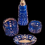 SALE Fabulous Bristol Blue VAL-SAINT-LAMBERT 19th Century Vanity Dressing Table Set - Thirteen