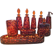REDUCED Highly Collectible Art Glass in Leopard Print - Circa 1920 Wonderful Vintage Set of ..