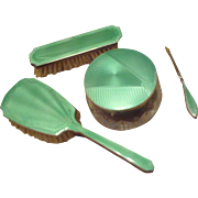 SALE Enjoy your Sterling SILVER Guilloche Enamel Boudoir Collectibles in Luminescent Green - .