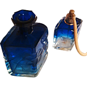 SALE The epitome of luxury - Two Stunning MOSER Karlsbad Cobalt Blue Intaglio Perfume Bottles