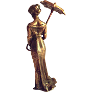 SALE Hallmarked Art Nouveau Vienna Bronze Maiden Figurine with her Umbrella - Fritz Bermann -
