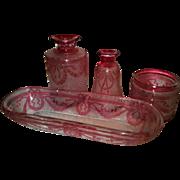 SALE Wonderful Baccarat Art Glass Antiques -- Circa 1890-1900 Ruby Cranberry Victorian Cameo .