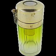 SALE RARE Antique Faceted Green Crystal Pump Perfume Bottle Atomizer - Splendid!