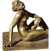 SALE Orientalist Art - Superb Nude Maiden Reclining on Rug - Antique Austrian Bronze Sculpture