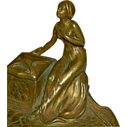 SALE OK1 - Delightful Antique Art Nouveau Gilded Bronze Figural Inkwell - Seated Maiden