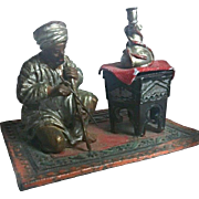 SALE Orientalist Art - Figurative INKWELL - Antique Cold Painted Bedouin Musician on Rug - ...