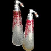 Val-Saint-Lambert Cameo Pink Garland - Two Tall Perfume Bottles - Atomizers