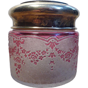 REDUCED OK1 - Val-Saint-Lambert Cameo Pink Garland - One Powder Jar with Sterling Silver Lid