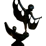 SALE A Spectacular Art Déco Tandem...  1920's BAT DANCERS of the ART, UNITE!