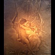"SALE Antique Porcelain Lamp with Etched Artwork /  Chryséléphantine ""Spring Time"""