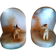 REDUCED GULLIVER SALE 1 - Vintage Doggy Bookends /  Circa 1920's Pair of Cold Painted Bronze .