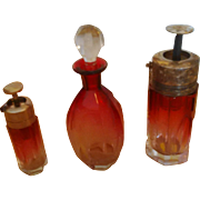 SALE Incomparable Moser Intaglio Crystal Trio - Spectacular Cranberry Perfume Bottles for a ..