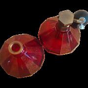 SALE Antique Moser Vanity Bottles: Paneled Cranberry / Ruby Crystal Perfume Bottle & Atomizer
